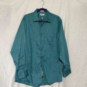 Men's long sleeved button up shirt.